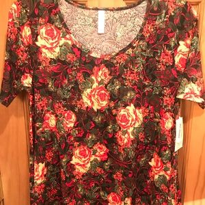 NWT S LLR Cabbage Roses Printed Perfect T